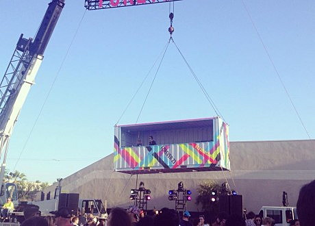What So Not & Gorgon City played from an elevated container at Forever 21's #Cranechella