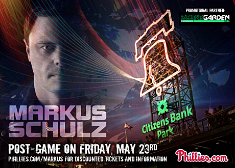 Markus Schulz's Phillies' game post-show event flyer.