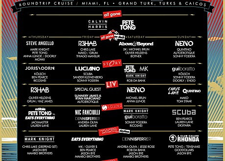 Pete Tong's 'All Gone To Sea' Day by Day lineup.