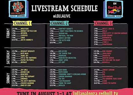 Lollapalooza livestream schedule